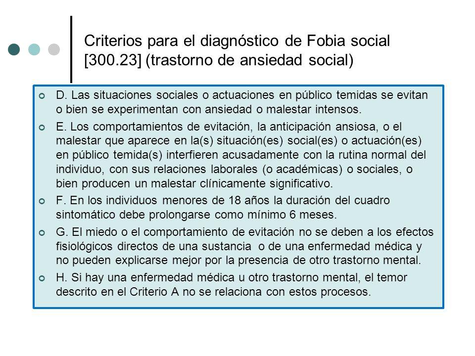 Criterios para el diagnóstico de Fobia social [300